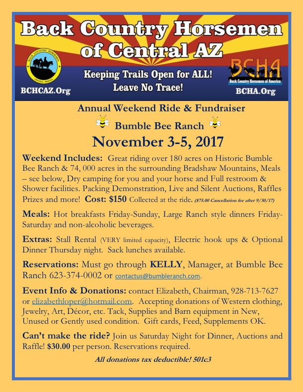November 3-5, 2017 Annual Bumble Bee Weekend Ride and Fundraiser