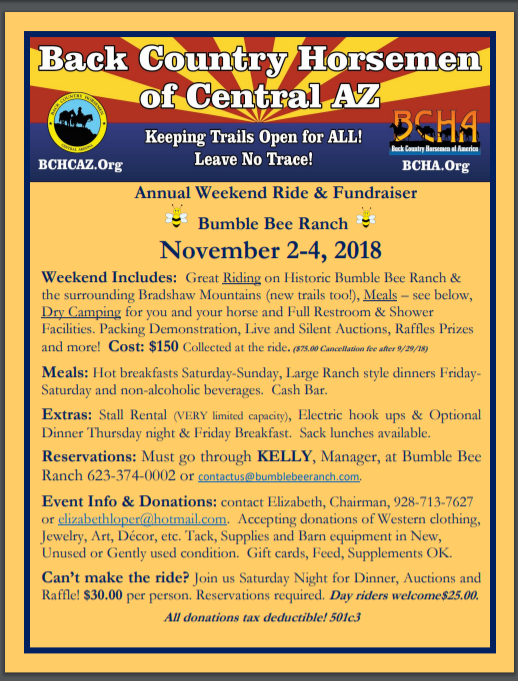 Annual Weekend Ride & Fundraiser November 2-4, 2018 Bumble Bee Ranch